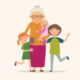 бабушка внучат она Стоковое Фото