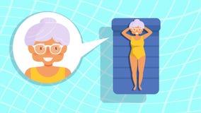 Бабушка в бассейне вектор Стоковое Изображение RF