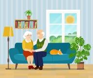 Бабушка, дед и кот сидя на кресле иллюстрация вектора