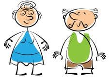 Бабушка и дед изолированный на белизне Стоковое Изображение RF