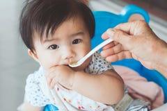 Бабушка подавая милый азиатский ребёнок с ложкой Стоковое фото RF
