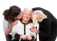 Бабушка с внуками стоковые фотографии rf