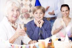 Бабушка с внуком и дочерью стоковые изображения rf