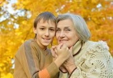 Бабушка с внуком Стоковое Изображение