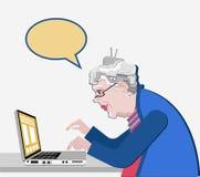 Бабушка с компьютером сидит Иллюстрация вектора в плоском стиле Технология старой прогрессивной пользы женщины современная Белое  Стоковое Фото