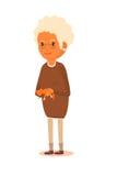 Бабушка с красным котом в руках Иллюстрация штока