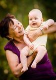 Бабушка с младенцем Стоковые Фотографии RF
