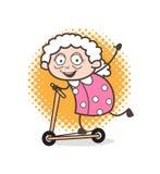 Бабушка шаржа смешная играя иллюстрацию вектора скейтборда Стоковые Изображения RF