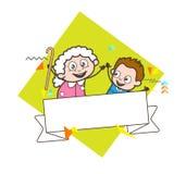 Бабушка шаржа с мальчиком ребенк и иллюстрацией вектора знамени сообщения иллюстрация вектора