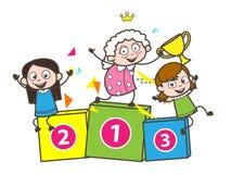 Бабушка шаржа с смешной иллюстрацией вектора детей Стоковая Фотография RF