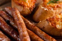 Баварские сосиски с крупным планом канапе Стоковые Фото