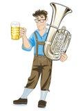 Баварский музыкант с tuba Стоковые Изображения