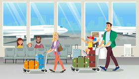 Багаж нося семьи в векторе мультфильма аэропорта иллюстрация вектора
