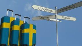 Багаж перемещения отличая флагом анимации шведского туризма столба знака Швеции, самолета и города схематической сток-видео