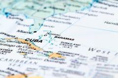 Багамские острова на карте Стоковые Фотографии RF