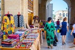 Базар улицы в Бухаре, Узбекистане Стоковые Фото