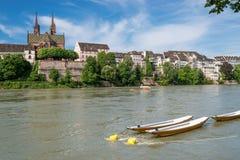 Базель с Рейном стоковые изображения rf