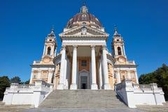 Базилика во взгляде Турина прифронтовом, никто Superga в солнечном дне в Италии стоковая фотография rf