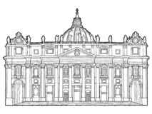Базилика St Peter, государство Ватикан, Италия: Искусство мультфильма ориентира руки иллюстрации вектора вычерченное иллюстрация вектора