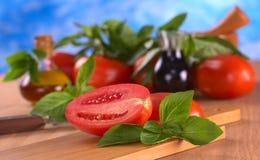 базилик выходит томат Стоковые Фото
