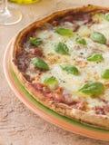 базилик выходит пицца margherita Стоковая Фотография