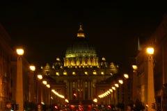 Базилика на ноче, Рим St Peters, Италия Стоковое фото RF