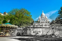 Базилика Sacre Coeur в Париже в летнем дне Винтажный взгляд Sacre Coeur в фото стиля Парижа старом ретро Стоковое Изображение RF