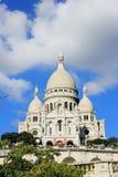 Базилика Sacre Coeur, Парижа, Франции на предпосылке неба облака Стоковые Изображения