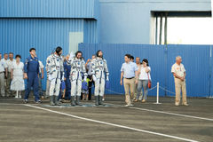 БАЙКОНУР, КАЗАХСТАН - JULE, 28: реальные астронавты, астронавты посланы к ИСС на русской ракете космоса randolph Стоковые Изображения