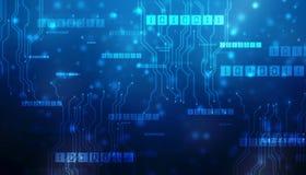 Байты бега бинарного кода через сеть Абстрактное футуристическое виртуальное пространство Современная предпосылка технологии иллюстрация штока