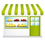 Бакалея справедливой торговли. Фрукты и овощи сельского хозяйства. иллюстрация штока