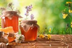 2 бака меда с зеленой предпосылкой природы с цветками Стоковые Изображения RF