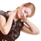 бакбортов Молодая женщина страдая от изолированной боли в спине Стоковые Изображения