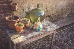 Баки и вазы на таблице Стоковое Фото