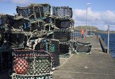 Баки омара готовые на пристани Стоковая Фотография