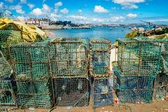 Баки омара и моллюска рядом с Прая da Ribeira в Cascais, Португалии Стоковая Фотография