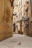БАКУ, АЗЕРБАЙДЖАН - 17-ОЕ ОКТЯБРЯ 2014: Узкий переулок в старом городе в Баку, Азербайджане Центр города (азербаиджанец: sehir ic стоковое фото