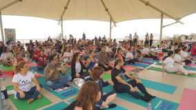 Баку, Азербайджан, может 15, 2017: Занятия йогой людей и женщин во время дня фестиваля йоги видеоматериал
