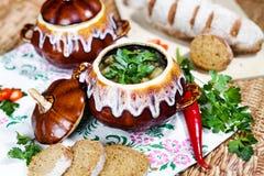 Бак картошки и петрушки супа на таблице Стоковая Фотография