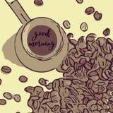 Бак кофе с длинной ручкой и кофейными зернами с добрым утром фразы Стоковое Фото