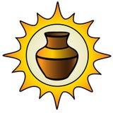 Бак Солнце и кувшин глины логотип для мастерской гончарни Этническая керамика гончарня покрашено иллюстрация штока