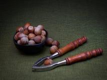 Бак с фундуками и Щелкунчиками, изображением светлой картины художественным Зеленая предпосылка стоковые фотографии rf