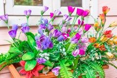 Бак цветков на стене Стоковое Фото