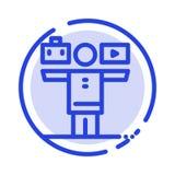 Баланс, жизнь, игра, линия значок голубой пунктирной линии работы бесплатная иллюстрация