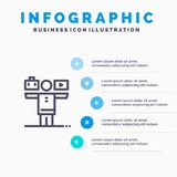 Баланс, жизнь, игра, линия значок работы с предпосылкой infographics представления 5 шагов бесплатная иллюстрация