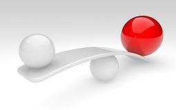 баланс сравнивает сферы 2 принципиальной схемы Стоковая Фотография
