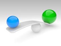 баланс сравнивает сферы 2 принципиальной схемы Стоковое Фото