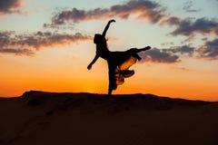 Балерина на заходе солнца Стоковые Фото