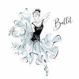 Балерина ballard Wilis Девушка танцев на ботинках Pointe вектор иллюстрация штока
