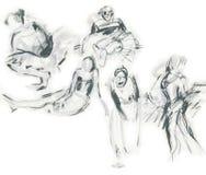 балерины рисуя эскизы Стоковые Фотографии RF